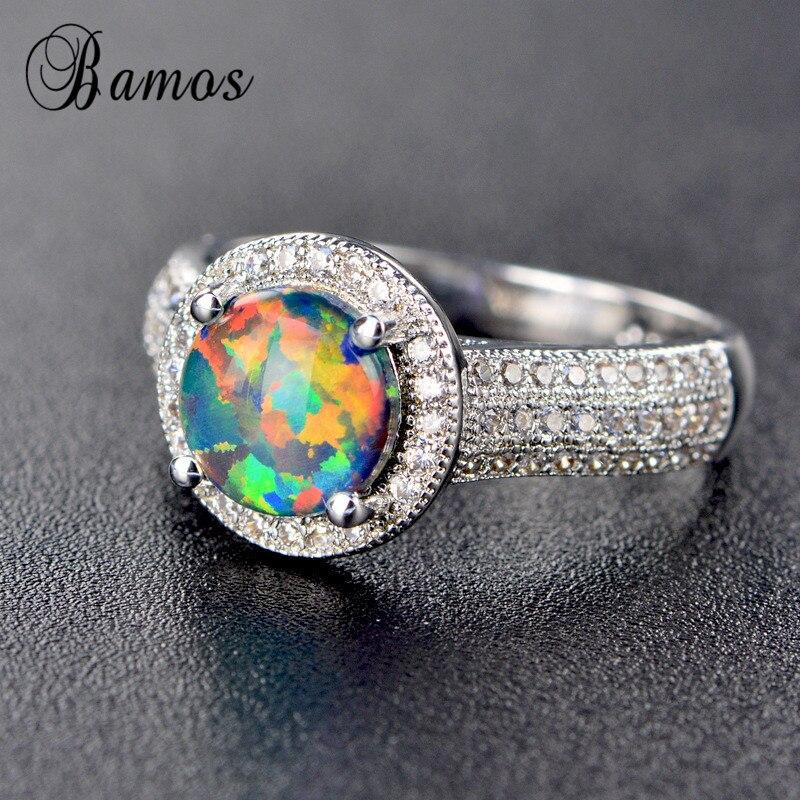 Бамос розовый/белый/синий огненный опал Promise Ring изысканный белый Gold Filled Свадебный Кольца для Для женщин Роскошные камень ювелирные изделия