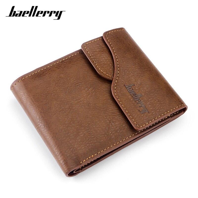 Baellerry Vintage Style Hasp Leather Men's Purse Standard Wallets ID Card Holder Photo Pocket Male Small Wallet Billetera MW384