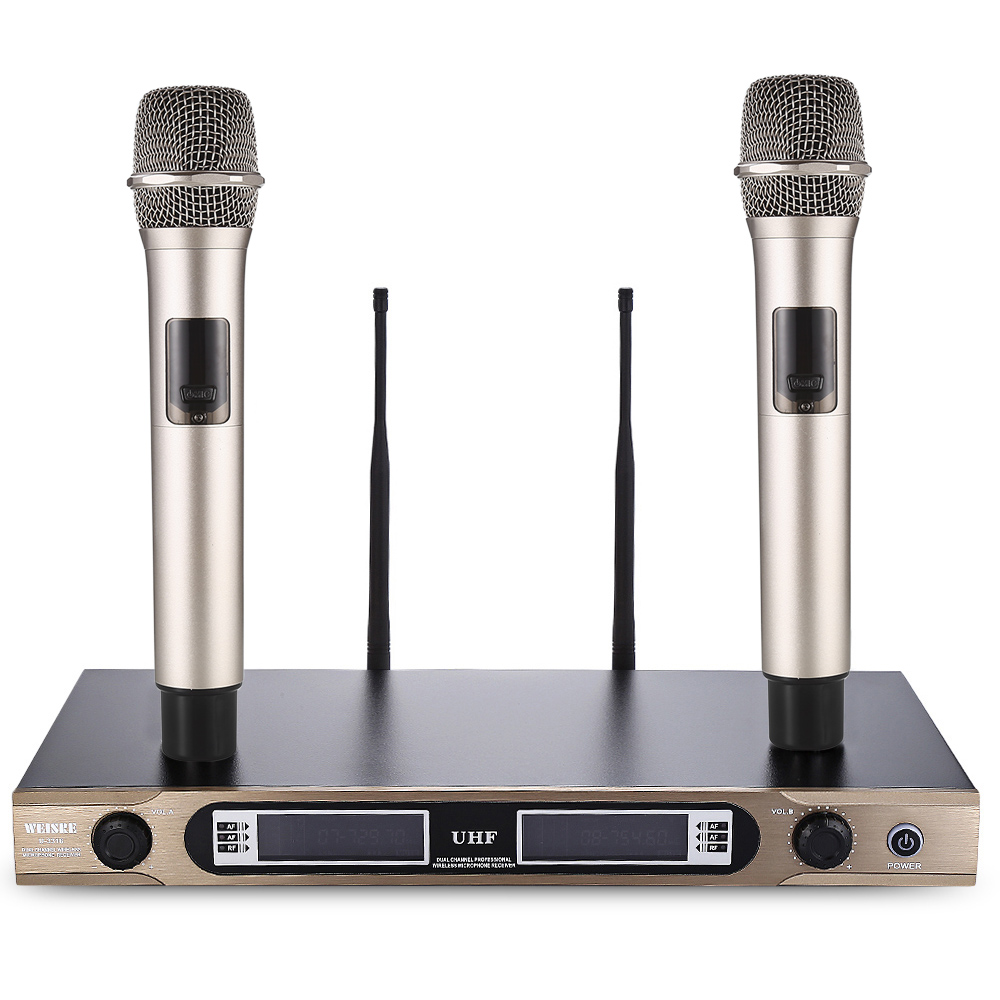 WEISRE U-3316 720 - 770MHz UHF Dual Channel Transmitter Karaoke Professional Wireless Handheld Microphone Set With 2 Microphone free shipping professional uhf bx288 p 58 karaoke wireless microphone system with dual handheld microphone cardioid transmitter
