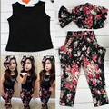 Жаркое лето новорожденных девочек одежда жилет футболку + цветочные брюки + оголовье стиль костюм младенца для младенца дети девочки одежда наборы