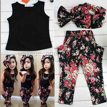 Hot summer baby girls clothes vest t-shirt + flower pants + headband pattern style baby suit for baby kids girls clothing sets