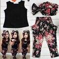 Los bebés del verano caliente ropa del chaleco de la camiseta + pantalones de la flor + diadema estilo patrón de juego del bebé para el bebé niños niñas sistemas de la ropa
