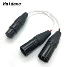 Freies Verschiffen Haldane 8 Kerne 7N OCC Silber Überzogene 4 pin XLR Buchse auf 2x 3 pin XLR männlichen Ausgeglichen kabel Kopfhörer Audio Adapter