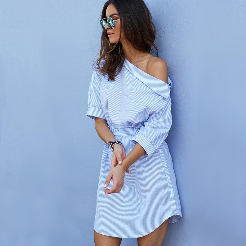 Elegant Half Sleeve One Shoulder Striped Beach Shirt Dress