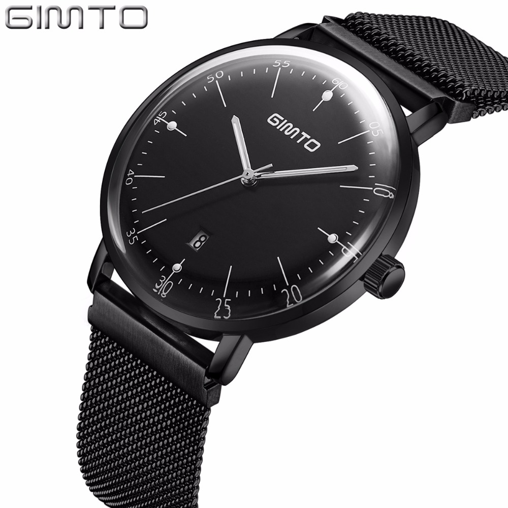 GIMTO Brand Luxury Men Watch Mens Steel Business Quartz Wristwatch Luminous Male Military Watches Men Clock Reloj Hombre Relogio