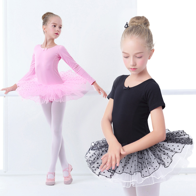 Girls Ballet Tutu Dress Kids Gymnastics Tulle Skirted Leotards Pink Black Ballet Costumes With Dot Tutus