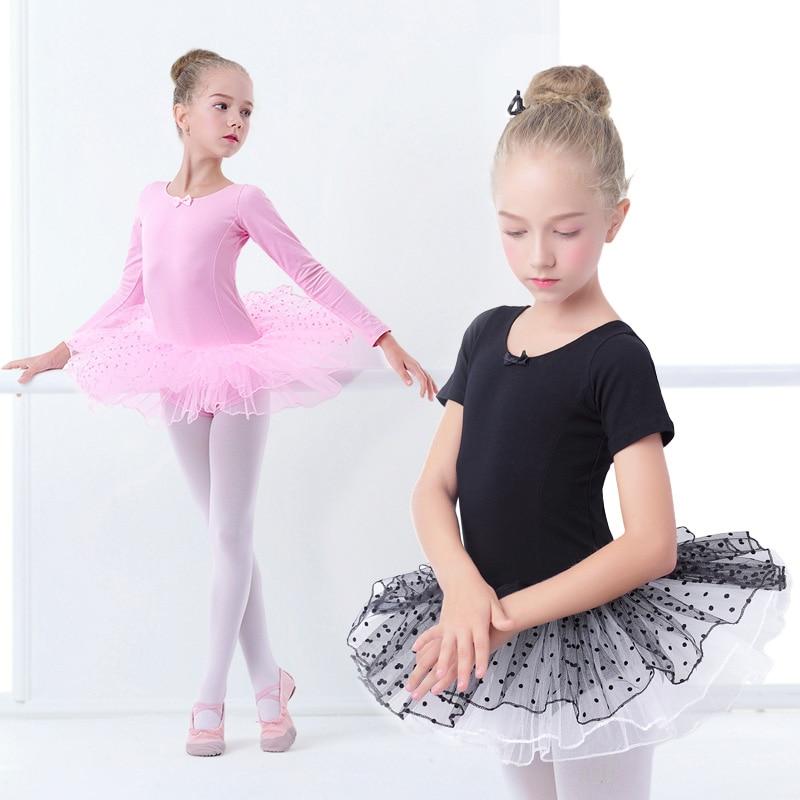 Girls Ballet Tutu Dress Kids Gymnastics Tulle Skirted Leotards Pink Black Ballet Costumes With Dot Tutus
