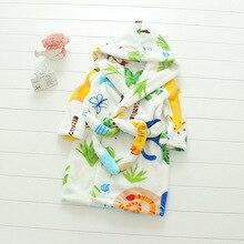 Новое поступление, 18 цветов, зимние фланелевые пижамы для маленьких девочек теплая одежда для сна с капюшоном и рисунком для мальчиков детские вельветовые халаты кораллового цвета