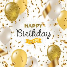 Happy birthday Golden foil confetti white and glitter gold balloons Photo Background Photography Backdrops Quality Vinyl(China)