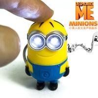 Popular new arrive Despicable me 3 minion Keychain,Led keychain,cute flashlight keyring,talk minions christmas gift 3# 30pcs/lot