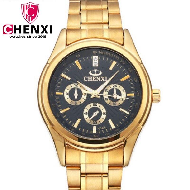 CHENXI Complet Montre En Or Hommes Montres Top Marque De Luxe Étanche Quartz montre En Acier Montre-Bracelet pour Hommes relojes hombre PENGNATATE
