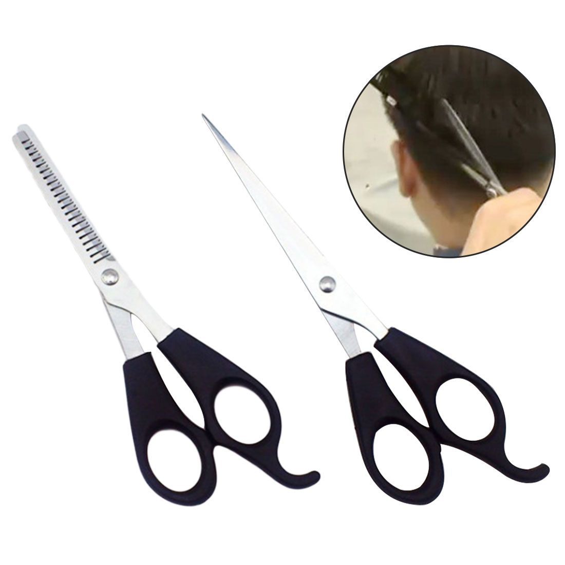 High Quality Stainless Steel  Barber Hair Cutting Thinning Scissors Shears Hair Cutting Shears Scissors Set Salon Tools 2Pcs/set