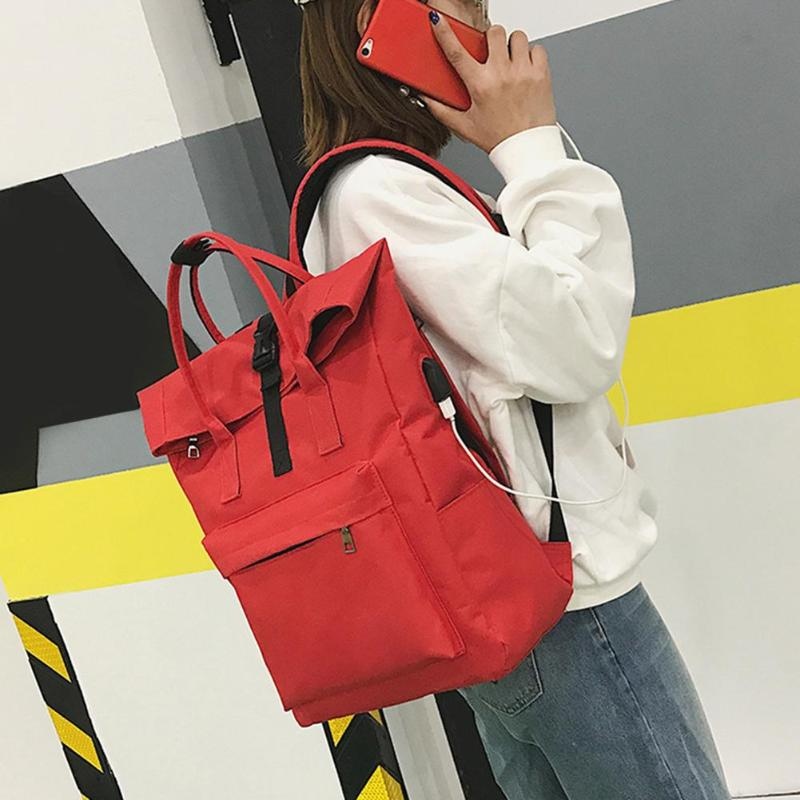 Zipper Casual Women Girls Teen Canvas Backpacks Travel Laptop Shoulder Bags Schoolbags Chic Korea Style Simple Fashion Bag