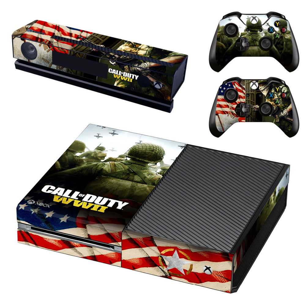 Call of Duty WWII Skin Sticker Decal For Microsoft Xbox One Console and Kinect and 2 Controllers For Xbox One Skin Sticker