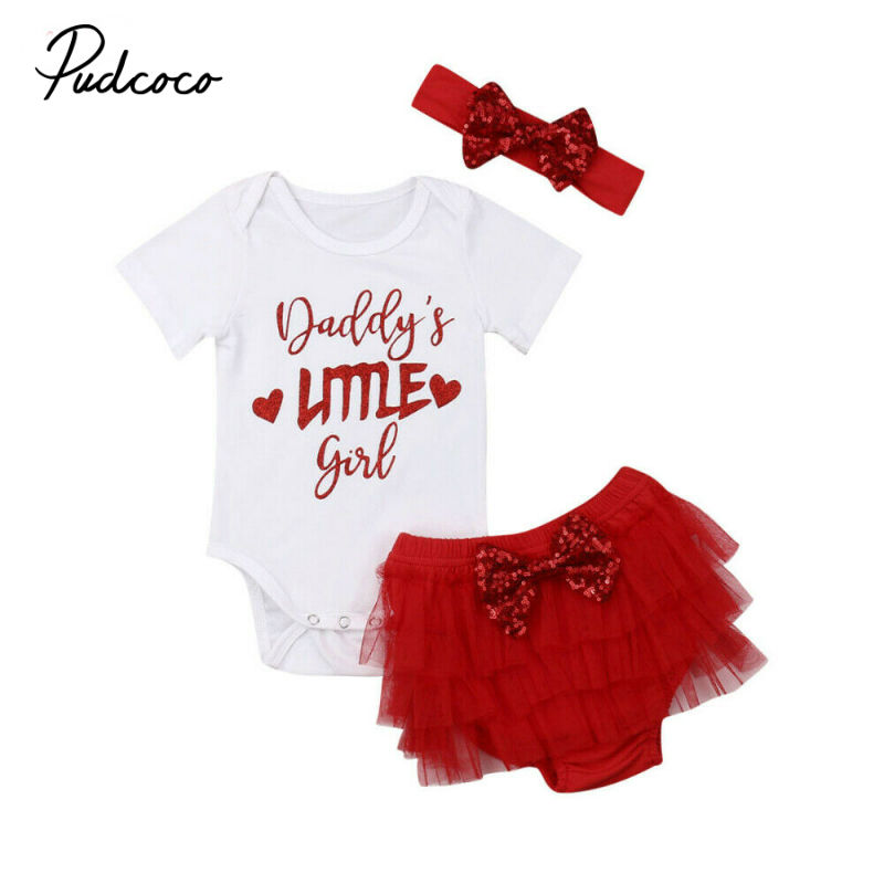 Fathers Day Baby Girls Summer Outfits Clothes Father's Daddy Romper Rompers Tops +Tutu Skirt+Headband 3PCS Set 0-18 Months