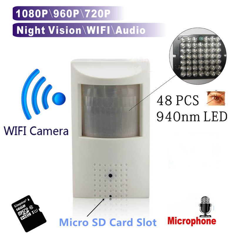 WIFI Micro SD Card Slot 720P 960P 1080P PIR Style Onvif Wired And Wireless IP Camera With Invisible 940nm IR LED Built-in Audio hd p2p mini ip wifi wireless pinhole pir camera 1080p 2mp 940nm invisible night vision onvif audio sd card slot phone watch
