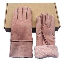 100% Pure Sheepskin WinterGloves Womens sheep skin Real warm fur gloves full finger genuine leather fingerless