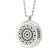 (10 Free Pads) Magnetic Diffuser Locket Stainless Steel Aromatherapy Essential Oil Pendants 2pcs