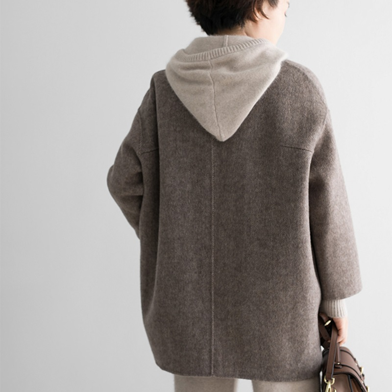 Lâche De Manteau Femelle À Longues 2018 Costume coffee Outwear Manches Printemps grey face Col Femmes Veste Caramel Double Épaissir En Laine Automne Nouveau CwfTfqgt