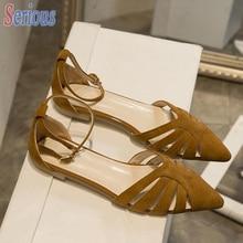 Ausgeschnitten Frauen Flache Schuhe Spitz Sandale Schuhe Veloursleder Bequeme Kurze Neues Design Schuh