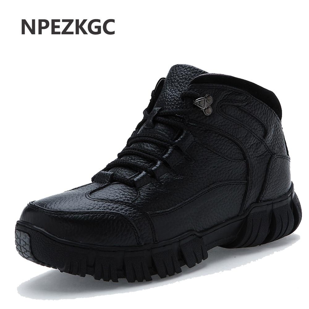 NPEZKGC Brand Super Warm Men s Winter Leather Men Waterproof Rubber Snow Boots Leisure Boots England
