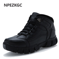 NPEZKGC Brand Super Warm Men's Winter Leather Men Waterproof Rubber Snow Boots Leisure Boots England Retro   Shoes   For Men