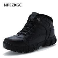 NPEZKGC Brand Super Warm Men's Winter Leather Men Waterproof Rubber Snow Boots Leisure Boots England Retro Shoes For Men