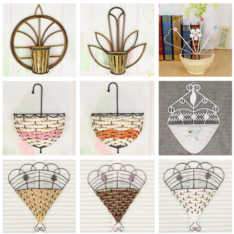 Simulation wall hanging iron flower rattan flower ...