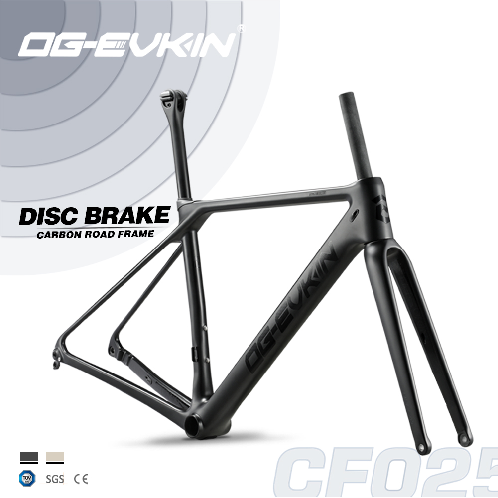 OG-EVKIN CF025 Carbon Road Frame Disc Brake UD BB86 Bicycle Disc Frame Di2 Frameset Fork Clamp XS S M L 1-1/8