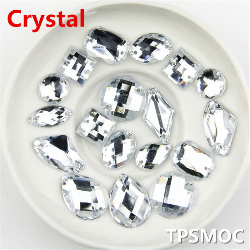 Crystal color 100pcs Different Shapes Mixed Rhinestone Diamond Diy Acrylic stones sewing on Rhinestones For Clothing Decorations