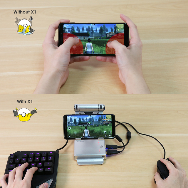 GameSir X1 BattleDock Keyboard and Mouse Converter for Hot FPS, RoS, Mobile Legend games, Phone Holder, Power bank