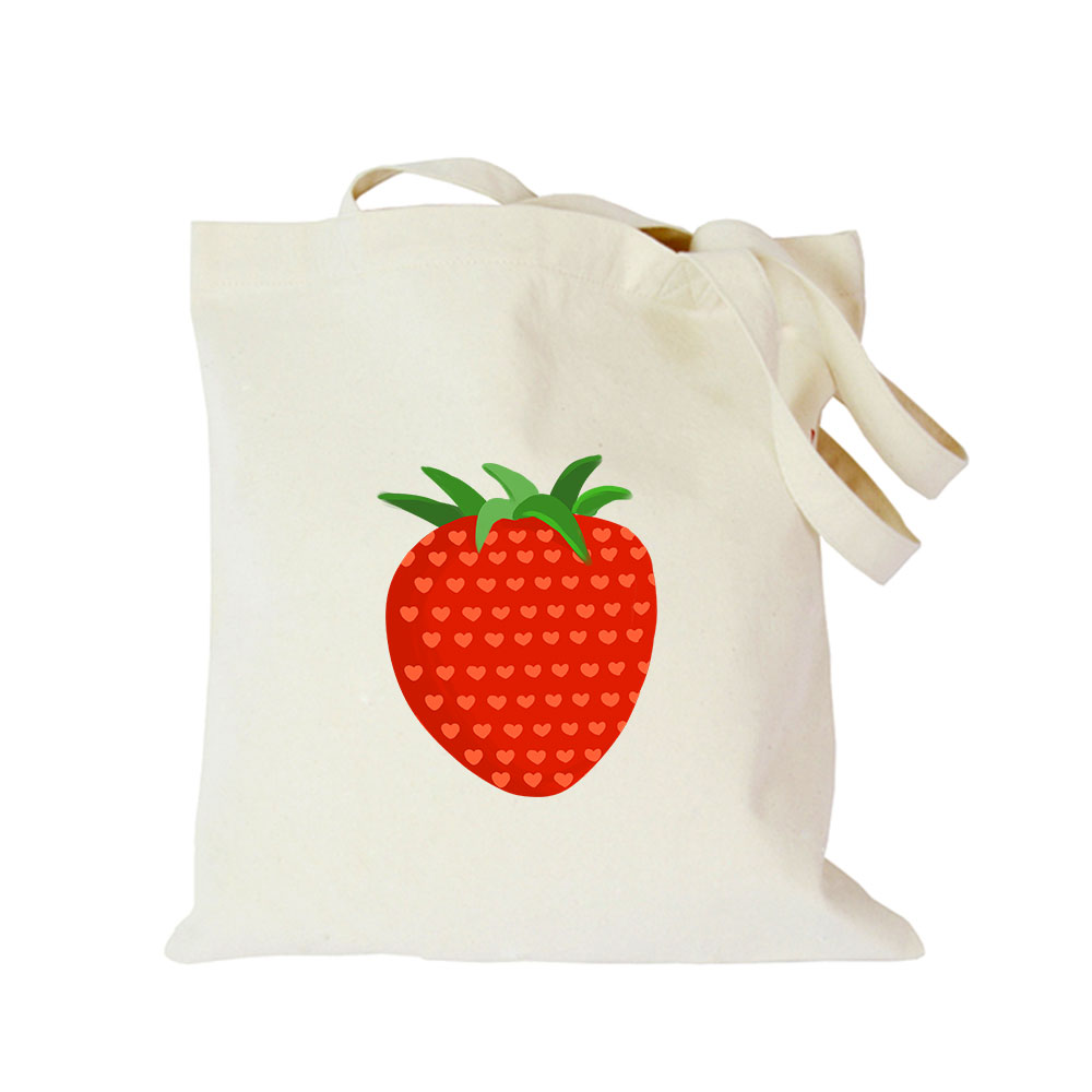 Origina kawaii canvas strawberry custom tote bag customize eco diy logo shopping bag with logo Dachshund Shepherd Dog Poodle (3)