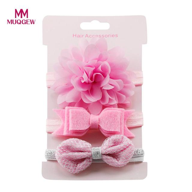 MUQGEW girls hair accessories 3Pcs Kids Elastic Floral Headband Hair Girls baby Bowknot Elastic bands Headwear Hairband Set