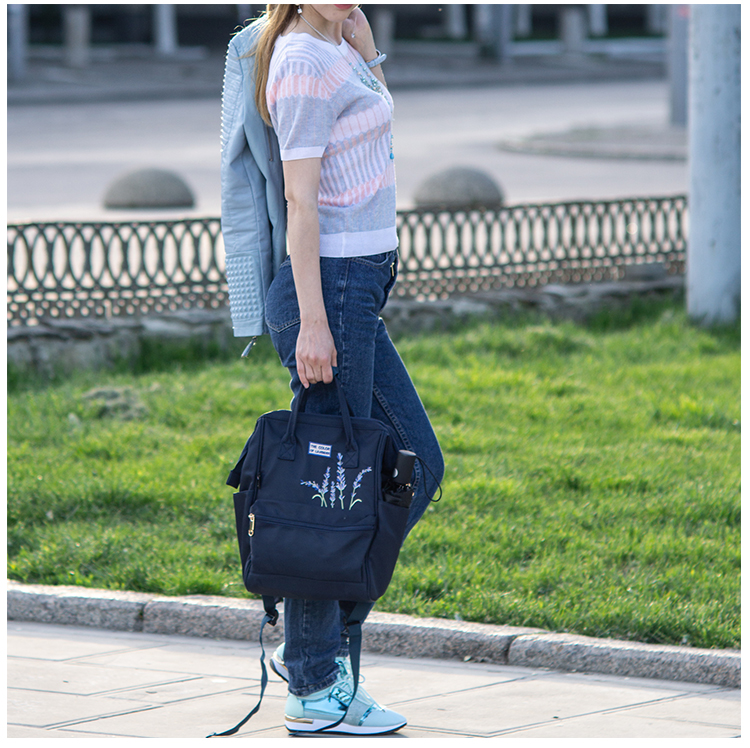 HTB1.fEcdv1H3KVjSZFHq6zKppXay Flower Princess Embroidery Nylon Women Backpack Water-resist Laptop Bag College Travel Bagpack for Girl Daypack Mochila Feminina