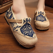 Fisherman shoes national style  linen Flats slip on female hemp rope knitting women shoes
