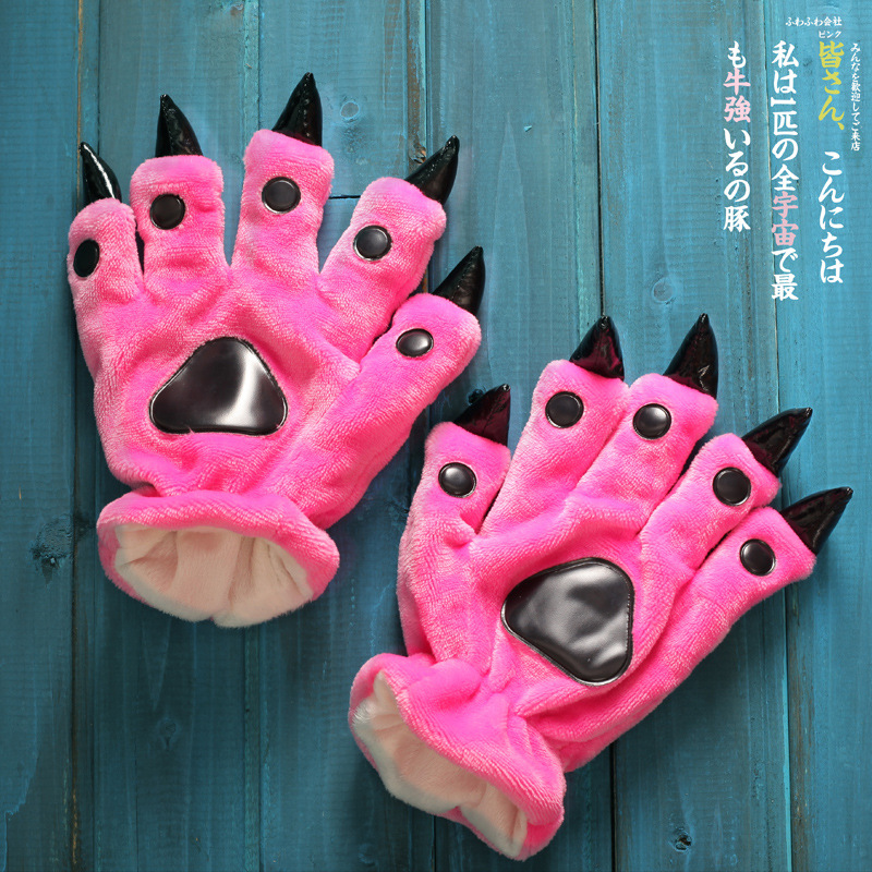 Animal Paw Winter Warm Gloves Lovely A Variety Of Colors Soft Soles Christmas Gifts Cartoon For Animal Pajamas Fingers