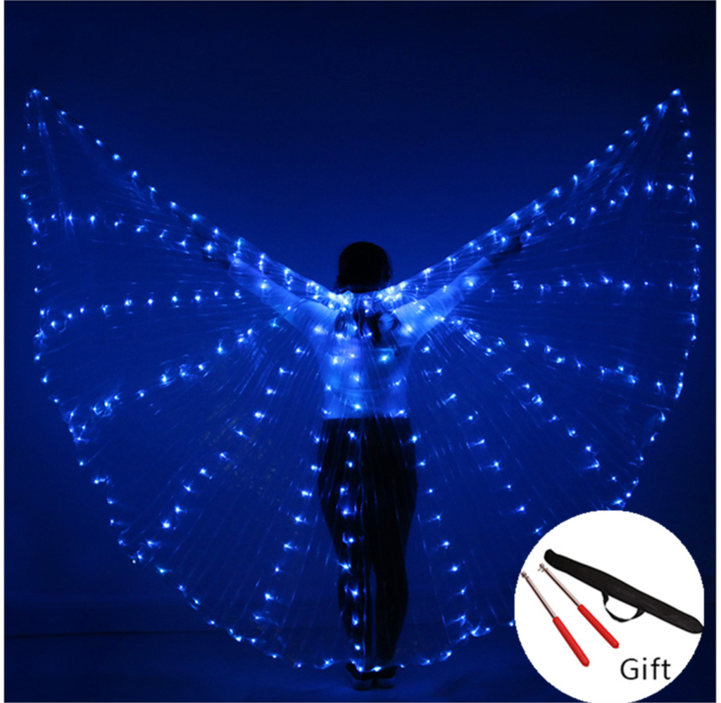 Children LED Light Isis Wings Belly Dance Costumes 360 Egyptian Stage Performance New Arrival Kids DJ LED Wings With Sticks