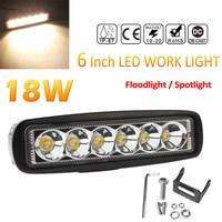 6 Inch 12V 24V 2000K 2150LM 18W IP67 Waterproof Durable LED Work Light Bar Fog Light