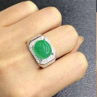 2017 Rushed Jewelry Qi Xuan_Fashion Jewelry_Colombia Green Stone Fashion Ring_S925 Solid Silver Men Ring_Factory Directly Sales