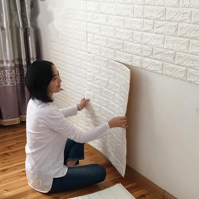 Removable PE Foam 3D Wall Stickers, Renovation Waterproof Kids Bedroom Wall Decorative Wallpaper