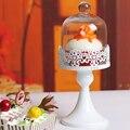 Aliexpress freeshipping europa tampa De Vidro do bolo do casamento de ferro ferramentas bolo rendas Preservação Do suporte da placa de Frutas de sobremesa Talheres