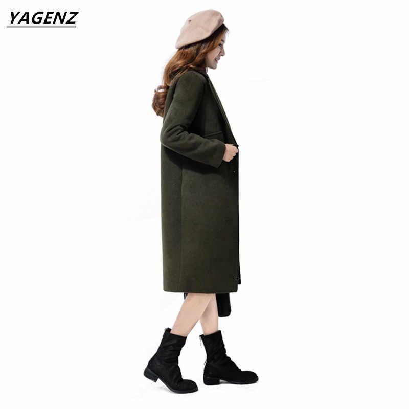 معطف الشتاء المرأة أنيقة معطف طويل 2017 جديد الصوف سترة عالية الجودة الصوف معطف واقٍ من المطر فضفاض معطف من قماش الكشمير الإناث YAGENZ