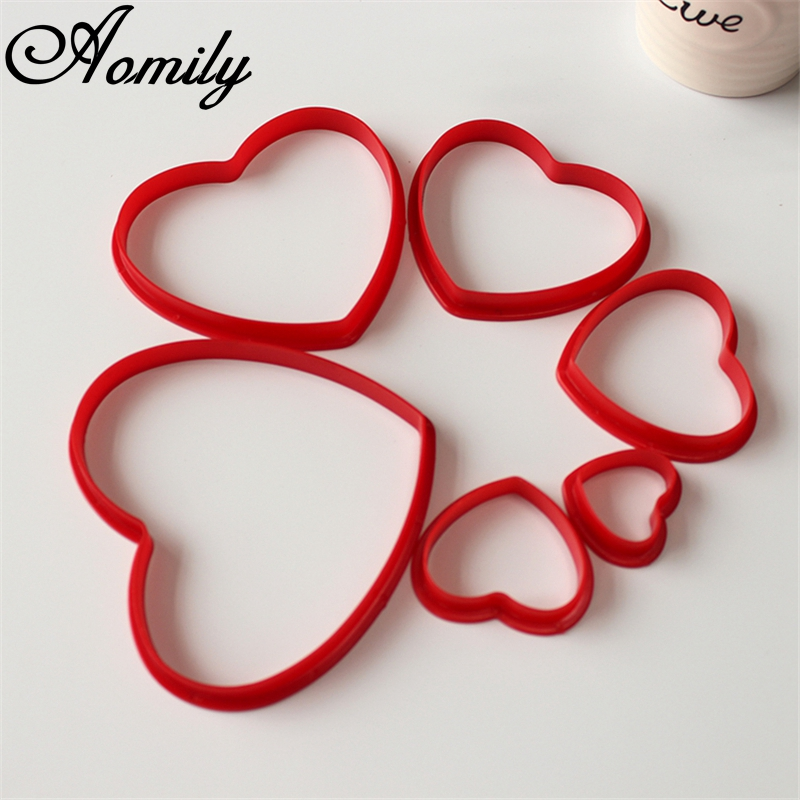 Aomily 6pcs/Set Lovely Heart Cookies Cutter 6 Size Sweet Love Cake Pastry DIY Mould Baking Tools Stainless Steel Baking Tools