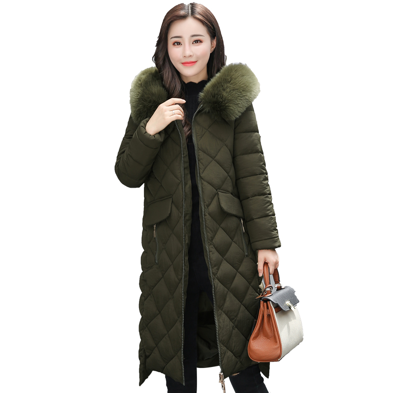 Female jacket 2017 new cotton clothing large size Korean fashion Parka woman in the long section of the body collar hooded coat sky blue cloud removable hat in the long section of cotton clothing 2017 winter new woman