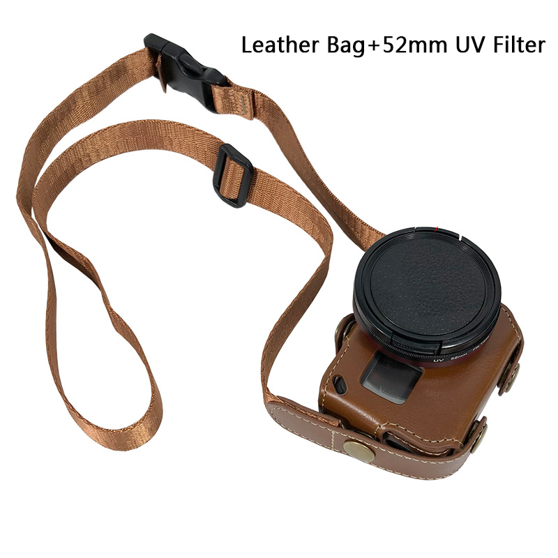 Leather Case Protective cover FOR Go Pro Hero7 6 5 52MM UV Filter Lens cap BAG for GoPro Hero 7 6 5 Action Camera Accessories-in Sports Camcorder Cases from Consumer Electronics
