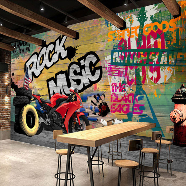 Custom wallpaper murals modern graffiti art motorcycle for What kind of paint to use on kitchen cabinets for graffitti wall art