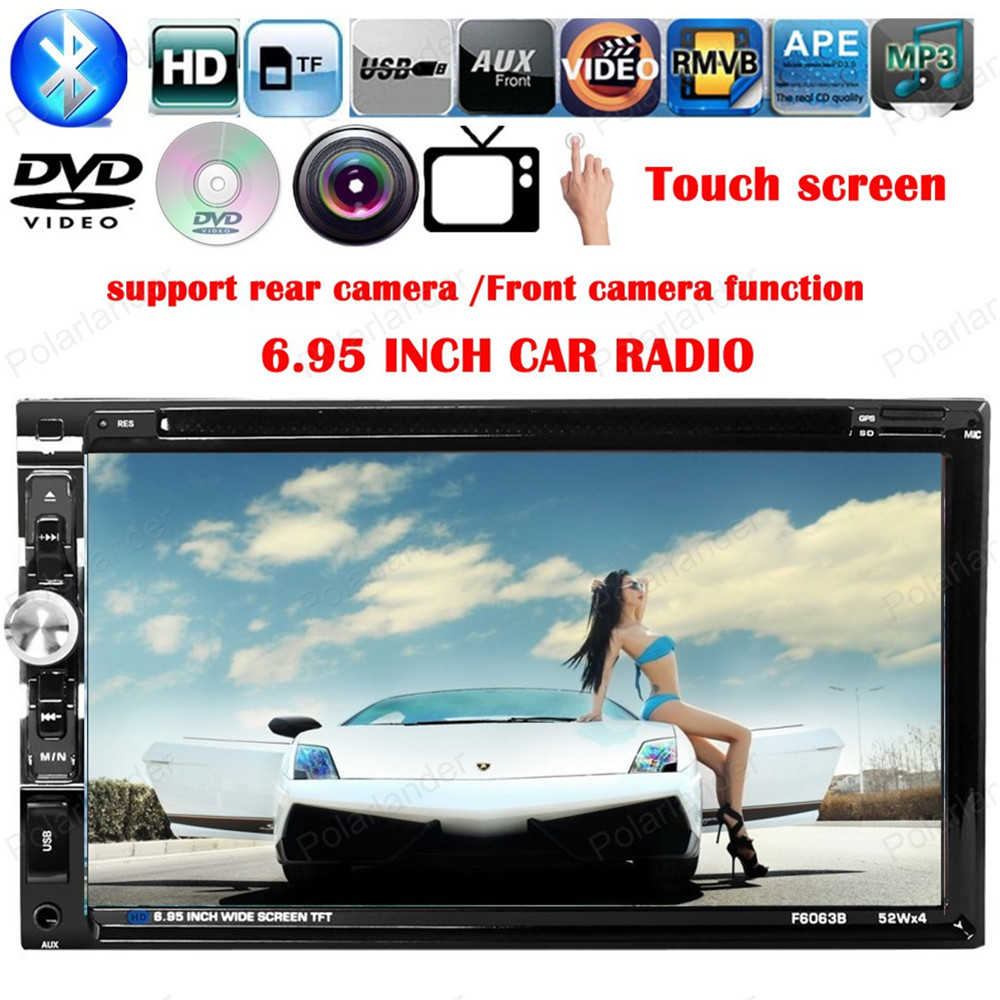 2 din 6.95 inch Touch Screen car DVD MP4 MP5 support Bluetooth front/ rear camera/ steering wheel control/FM/USB/TF card 7 inch 2din car radio mp5 player mp4 touch screen bluetooth rear camera dvr input stereo steering wheel control fm usb tf aux
