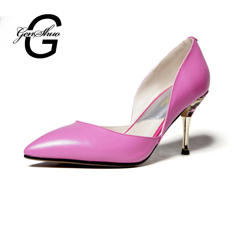 ФОТО 2017 New  Pointed Toe OL Women Pumps Genuine Leather Thin Heels Women High Heels Shoes Office Career Small Size  Shoes Pumps