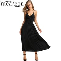 Meaneor Women Adjustable Strap V Neck Maxi Dress High Waist Soild Casual Party Slim Pleated Long