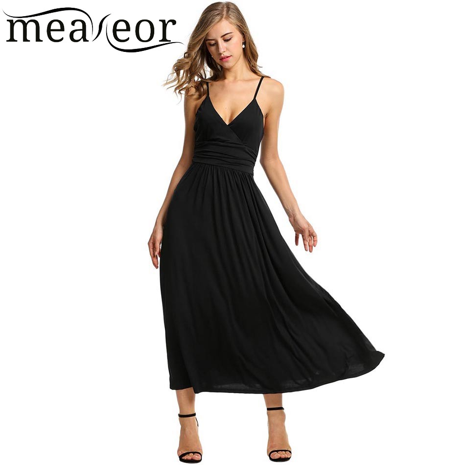 Meaneor Frauen Verstellbaren Riemen V-ausschnitt Maxi Kleid Hohe ...